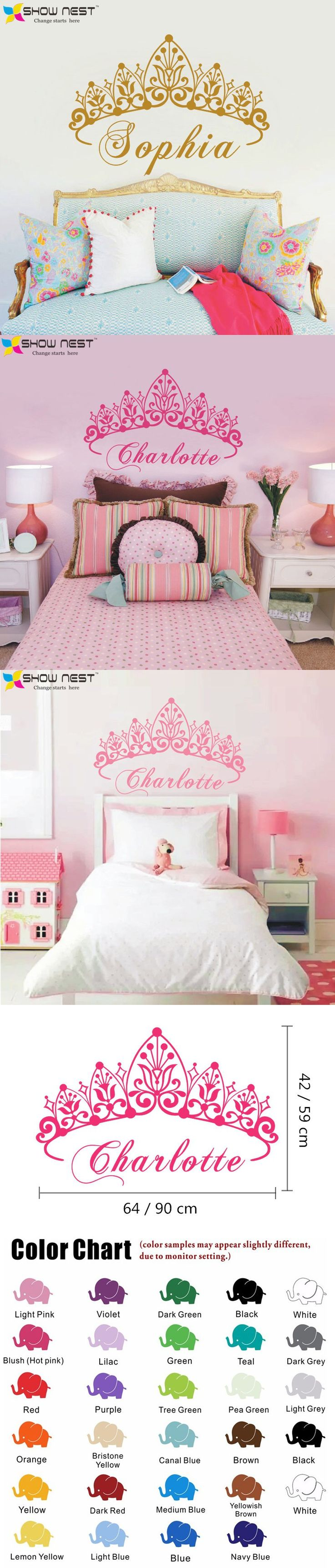 Baby Girl Crown Wall Sticker Custom Princess Name Decals Home Decor Wall  Sticker For Kids Room