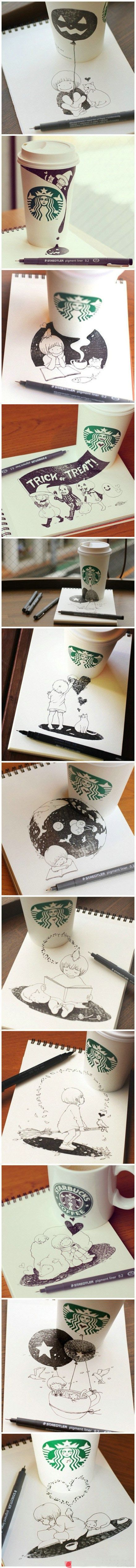 wonderful use of Starbucks cup to add depth