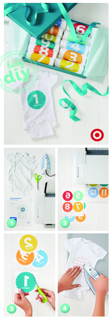 Document your baby's growth their first year by creating monthly milestone bodysuits.