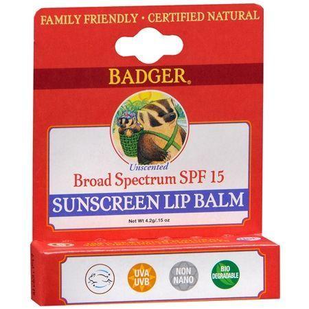 Badger Sunscreen Lip Balm SPF 15 Unscented - 0.15 oz.