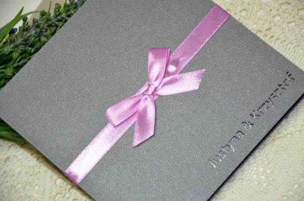 zaproszenia ślubne szare z różem Wedding 4,0 zł - Galera realizacji