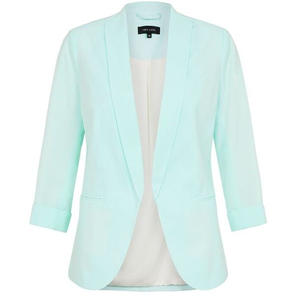 Mint Green Crepe Blazer (17 CAD) ❤ liked on Polyvore featuring outerwear, jackets, blazers, tops, coats & jackets, mint green, green blazer jacket, open front jacket, workwear jacket and blazer jacket