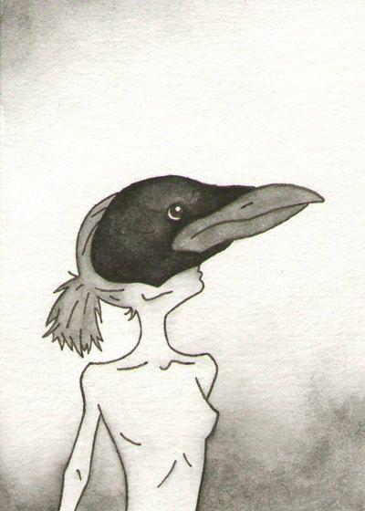 Crow / Raven  Original Artwork / Illustration  by CuriousLemon, $15.00