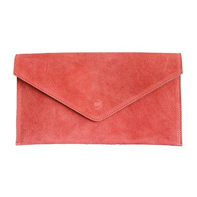 Lucia Italian Watermelon Pink Leather Envelope Clutch Bag - £24.99