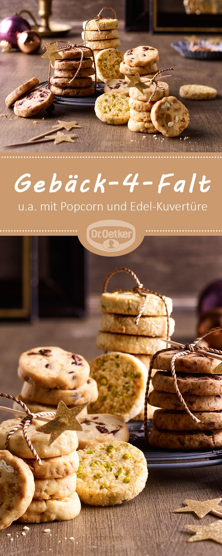 Gebäck-4-Falt: Mürbe Kekse mit Popcorn, Edel-Kuvertüre, Salz-Erdnüssen und Kokos-Orange