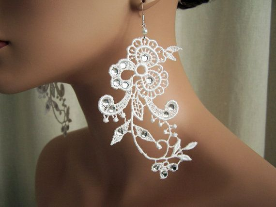 Wisteria white lace earrings with crystals by StitchFromTheHeart