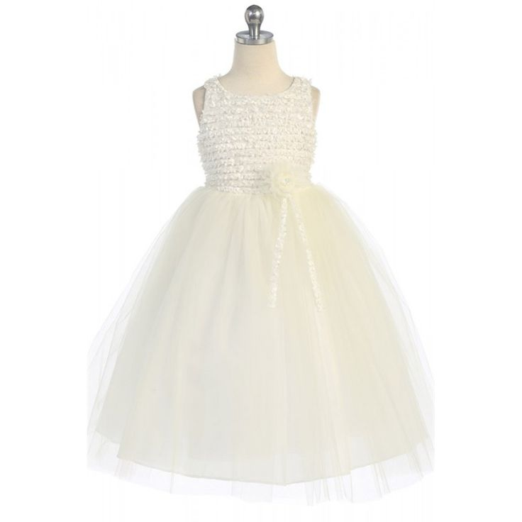 Ribbon Trimmed Texture Style Bodice with Tulle Overlay Dress