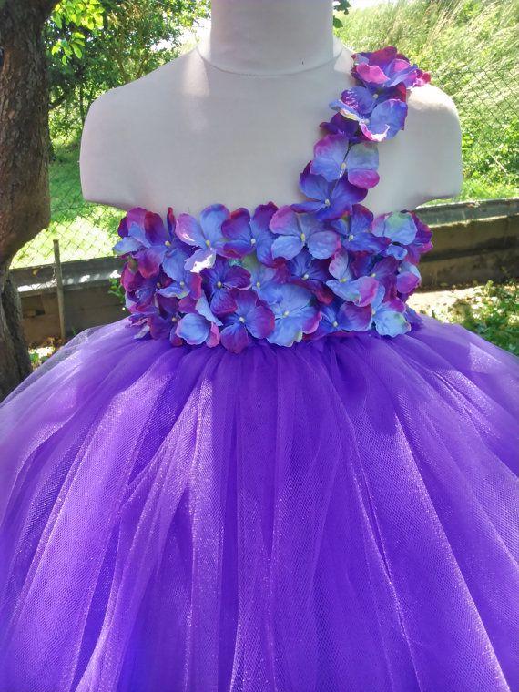 Purple flower girl tutu dress – wedding tutu dress – birthday tutu dress – purple tutu dress – pageant dress – hydrangea tutu dress