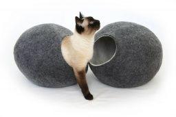 Domeček TMAVĚ ŠEDÝ - Designové, ručně dělané kočičí domečky
