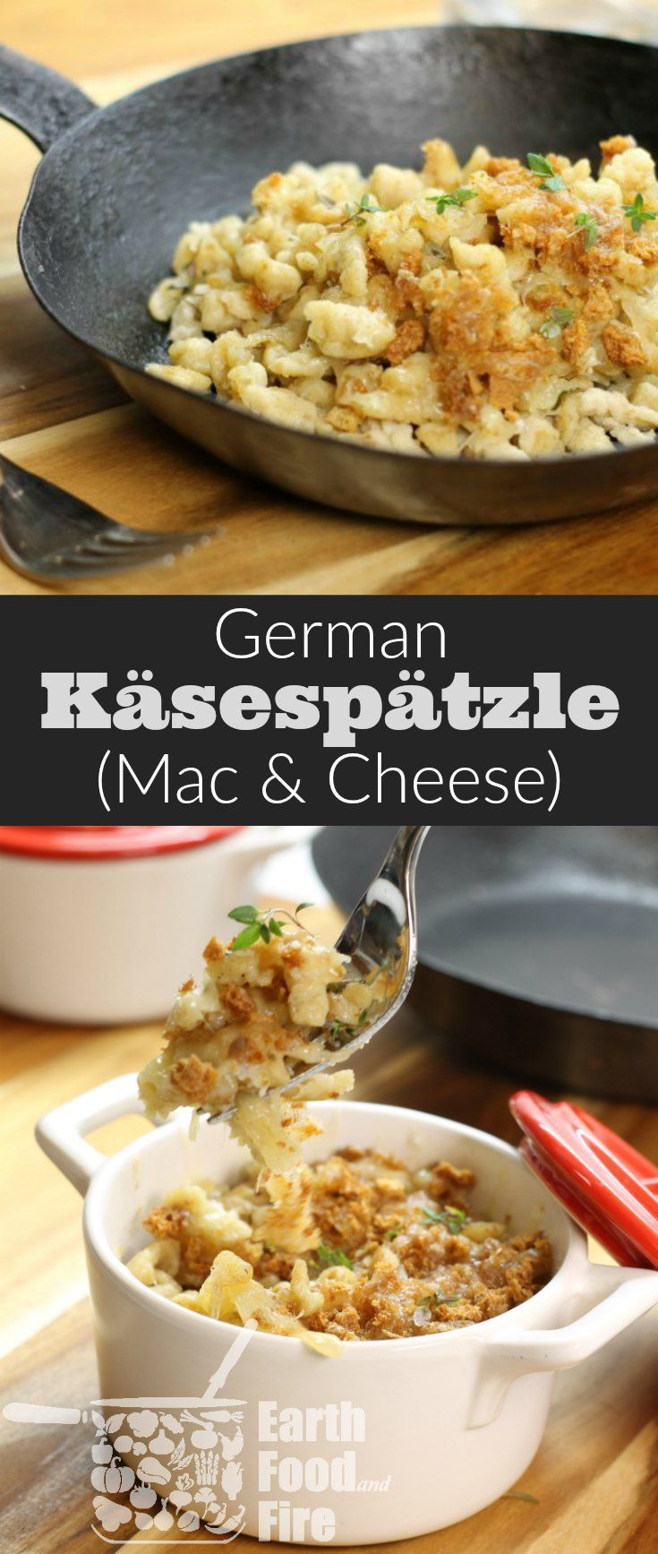 German käsespätzle also known as cheese spaetzle, is an easy to make noodle dish loaded with Emmental Cheese. Basically a fancy Mac & Cheese this traditional German dish is ideal for lunch or a quick supper! #spaetzle #cheese #macandcheese via @earthfoodandfire
