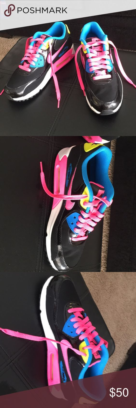 Nike Air Max in neon colors Youth size 5.5, but fits a woman's 6.5. Brand new. Only tried on in store. Cushiony and stylish. Nike Shoes Sneakers