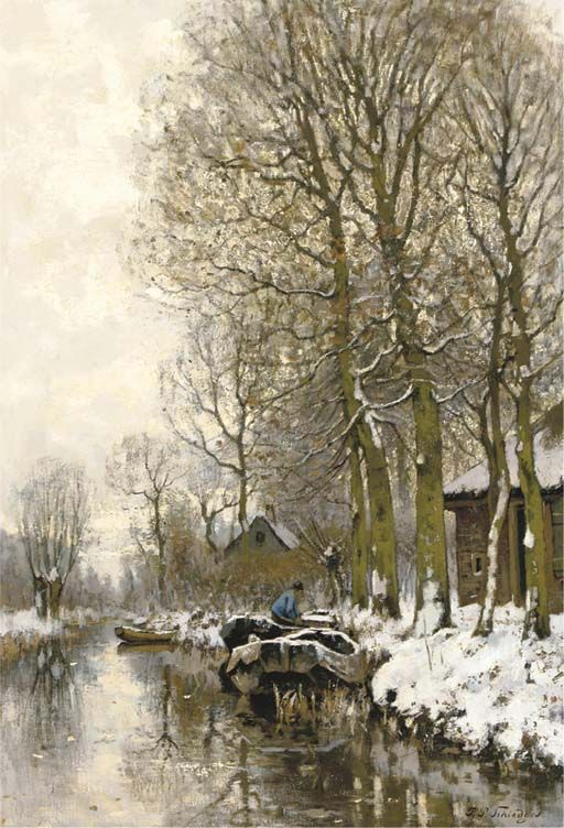 Along a snowcovered stream, Petrus Paulus Schiedges. Dutch (1813 - 1876)
