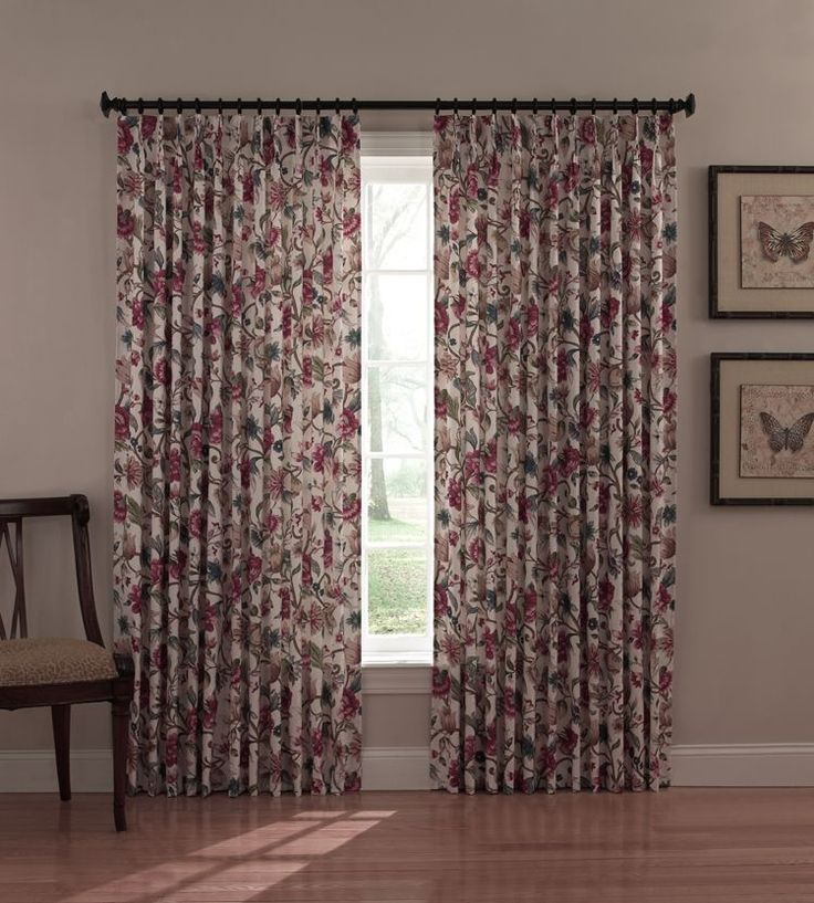 Insulated Pinch Pleated Drapes Jacobean Floral Print