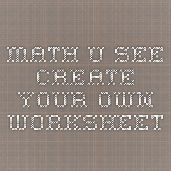 Worksheets | Math-U-See | Worksheets, Math u see, 1st ...