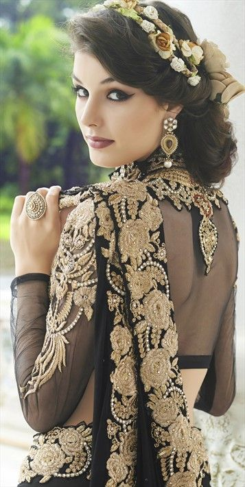 178670, Bridal Wedding Sarees, Faux Georgette, Net, Machine Embroidery, Stone, Zari, Thread, Black and Grey, White and Off White Color Family