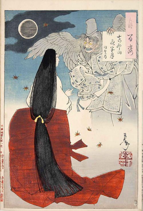 『吉野山夜半月 伊賀局』(『月百姿』シリーズ、作・月岡芳年) Yoshitoshi Tsukioka 1886