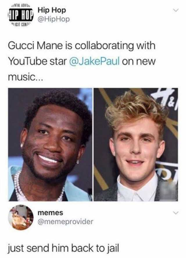 Hip Hop IP HO @HipHop Gucci Mane is collaborating with YouTube star @JakePaul on new music… memesS @memeprovider just send him back to jail