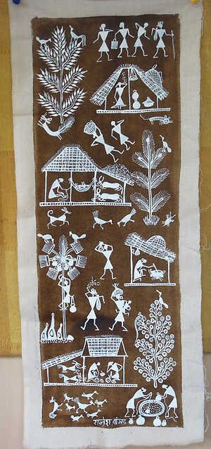 "Warli folk paintings made by the largest tribe in Maharashtra. Often painted on walls, they are a vivid monochrome expression of daily and social events of the tribe and provide the means of transmitting folklore to a once non-literate community. ""Warli"" come from the word ""warla"" which means the piece of land."