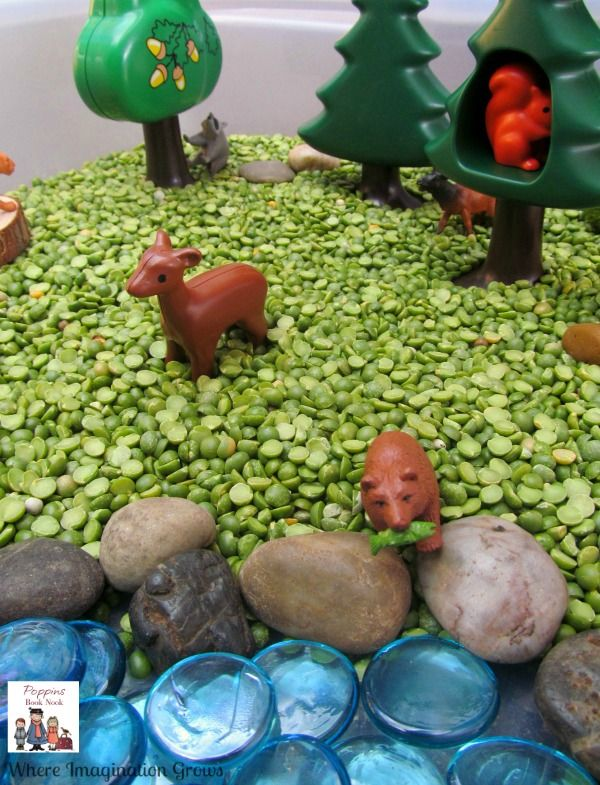 Forest Animals Sensory Bin for Kids using Play Mobile Animals, dried beans, stones and more