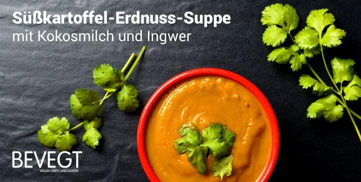 Süßkartoffel-Erdnuss-Suppe mit Kokosmilch und Ingwer