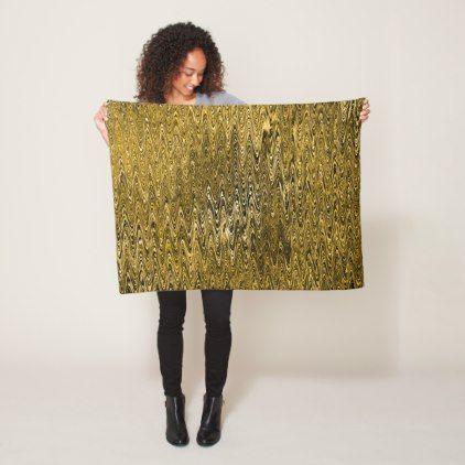 Gold Waves Sinusoidal Rhythmic Pattern Fleece Blanket - patterns pattern special unique design gift idea diy