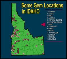 Map of Gem Locations (Outdoor Idaho: The Gem State)