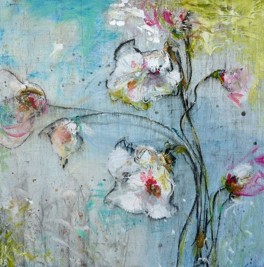 Dominique Caron's 'The shapes of spring II' Mixed Media (flowers ,foliage,summer,French, Provence, country, Transitional,): From the series 'New Blooms 2013'  Stylized floral themes, light  and airy.
