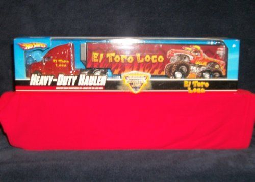 """HOT WHEELS """"EL TORO LOCO""""HEAVY DUTY HAULER by MATTEL. $49.99. COLLECT ALL OF THESE. 10 WHEELS. 15 INCH TRUCK AND TRAILER. HOT WHEEL HEAVY HAULER EL TORO LOCO"""