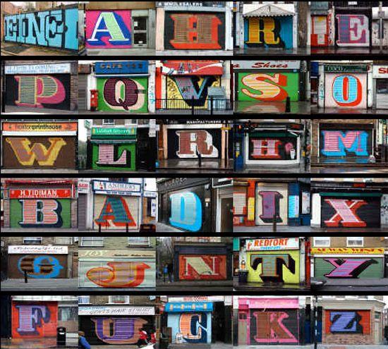 Ben Eine - an entire alphabet on East London shutters