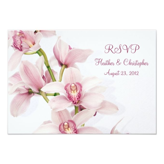 "Pink Cymbidium Orchid Wedding Reply RSVP Card 3.5"" X 5"" Invitation Card"