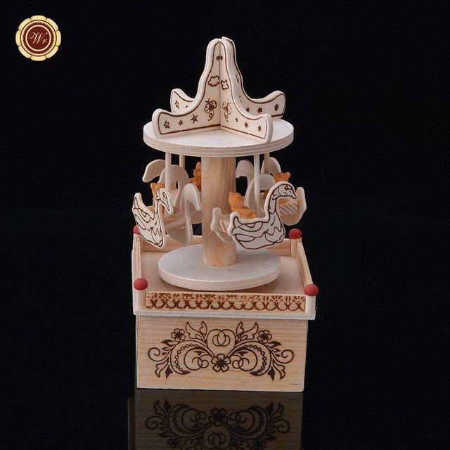 WR Creative Make-up Rotary Girl Music Box Ornaments Children Mirror Small Drawer Rotating Dance Jewelry Box