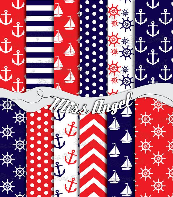 Nautical Scrapbook Paper. Digital sheets set by MissAngelClipArt, $4.99