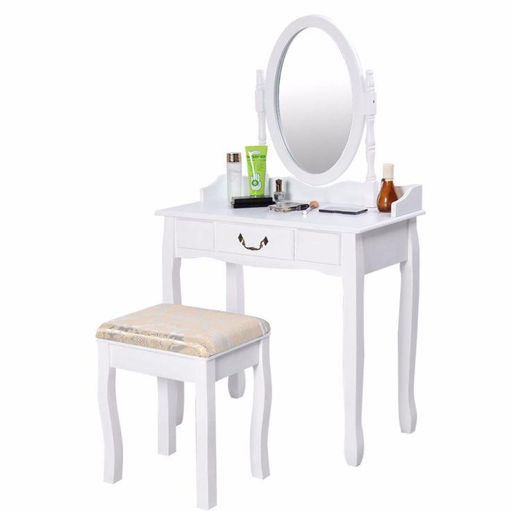 Tabella di vanità specchio da Trucco e Gioielli Scrivania Panchina Dresser w/Sgabello Cassetto Bianco Nuovo HW50200