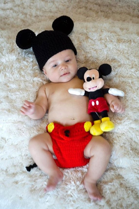 baby mickey mouse inspired costume set hat diaper cover crochet winter outfit newborn boy girl - Baby Mickey Mouse Halloween Costume