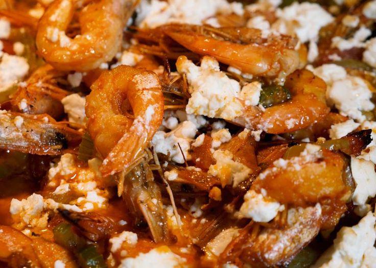 σαγανάκι με γαρίδες