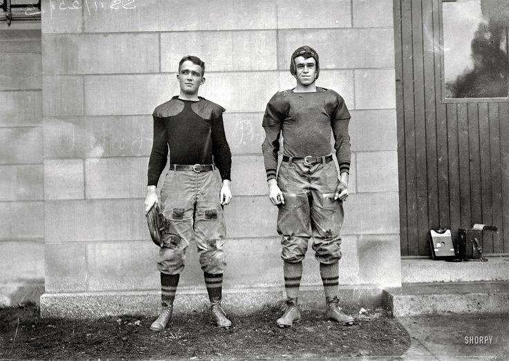 """West Point football players Charles Love Mullins Jr. and Joseph Pescia Sullivan, 1913.    Mullins survived both the First and Second World Wars, ascending to the position of Major General of the U.S. Army and living to the ripe old age of 84. Sullivan also became a Major General and died at the age of 83."""