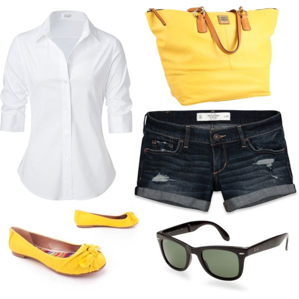 really cute!: Fashion, Style, Clothes, Summer 3, Color, White Shirts, Yellow Shoes, Yellow Bags, Cute Summer Outfits