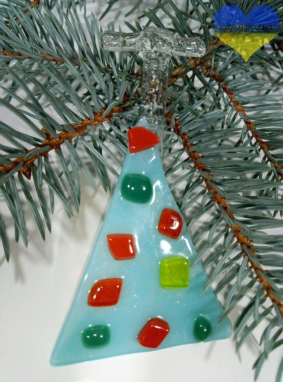 Fused Glass Tree Fused Glass Christmas Ornaments Holiday