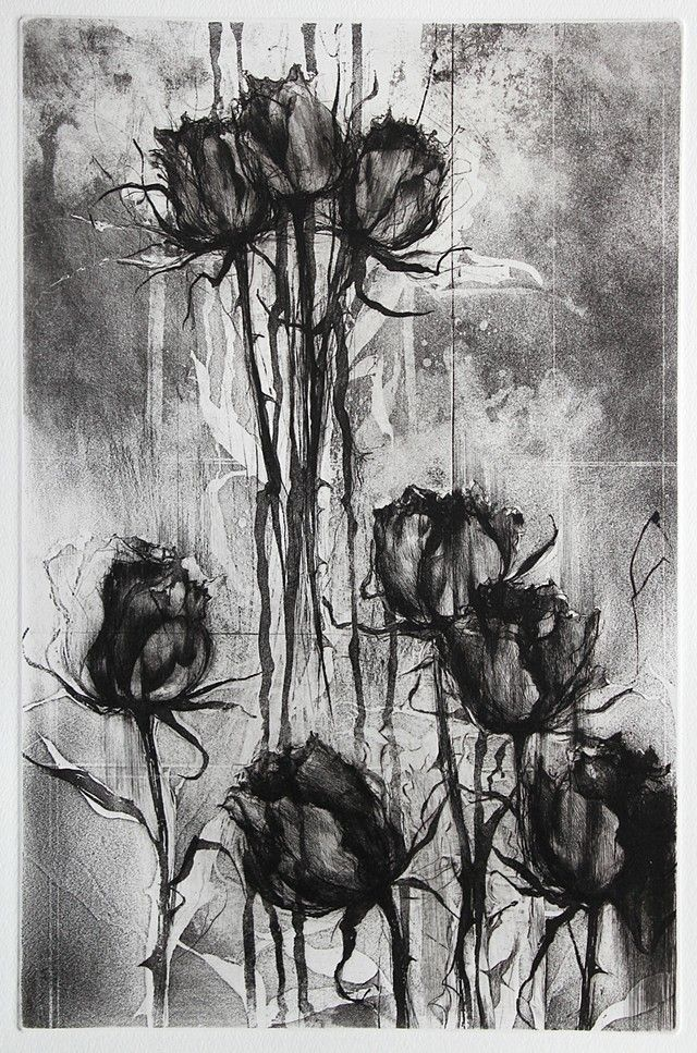 Jake Muirhead, 'Black Roses', etching, sugar-lift aquatint and drypoint
