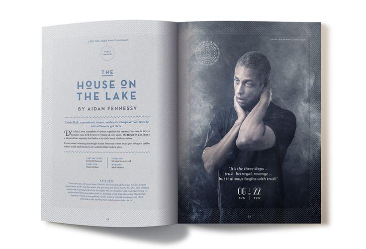 'the House on the Lake' page design of Black Swan State Theatre Company program booklet season 2014. Design by Dessein, Australia.