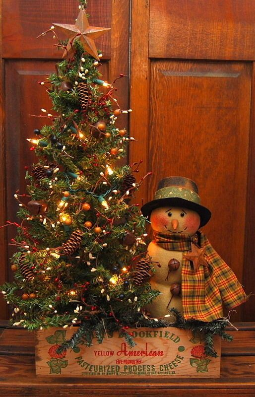 HANDMADE PRIMITIVE LARGE  LIGHTED TREE SNOWMAN CHEESE BOX FOLK ART #NaivePrimitive