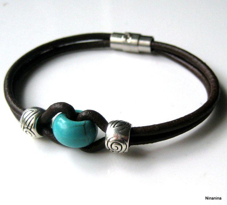 Bracelet homme cuir et perle turquoise N3054 : Bijoux pour hommes par ninanina