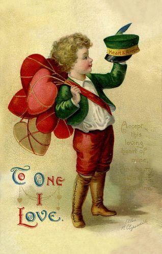 Little boy with a bundle of hearts. Precious!  Vintage Valentine Postcard, via Flickr.