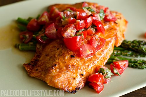 Salmon With Cherry Tomato Salsa And Asparagus - made this tonight for dinner and it was so delicious!