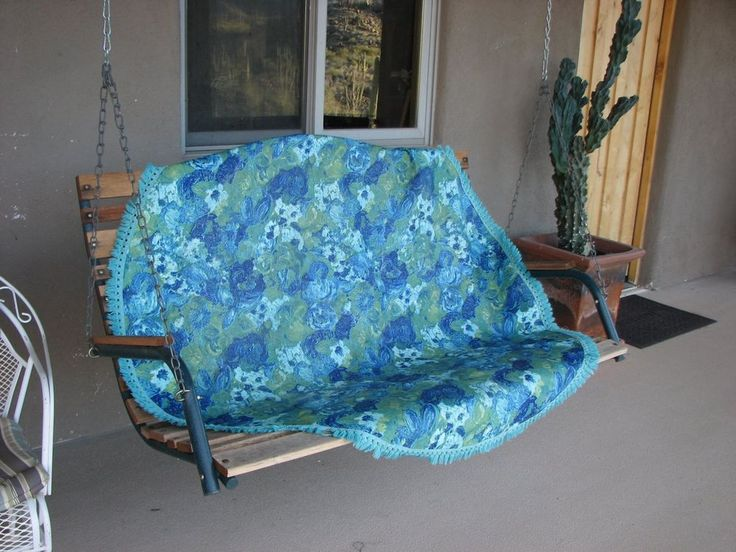 Vintage Mid Century Modern Turquoise and Blue Floral Vinyl Tablecloth w/ Fringe