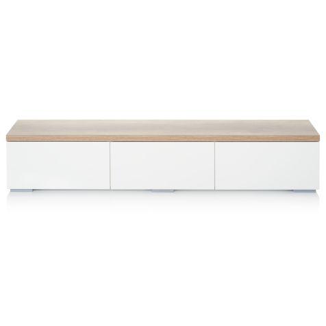 Lowboard, drei Schubladen, naturfarbene Platte, modern Vorderansicht
