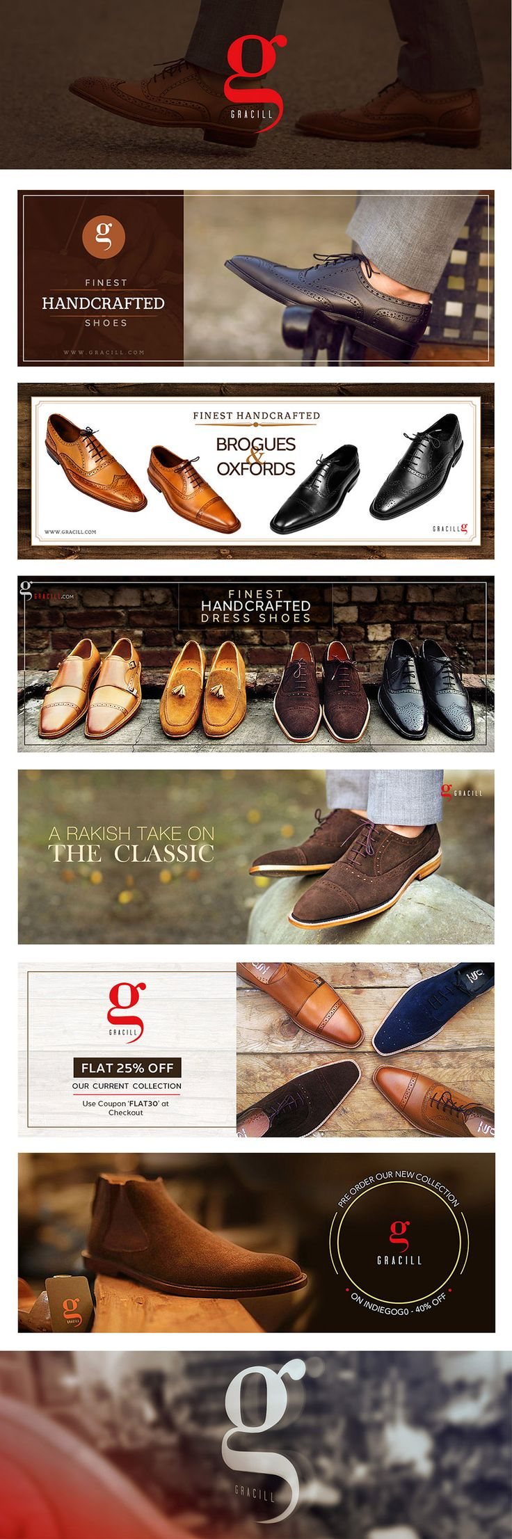 Website banners/FB-Page-Covers for www.gracill.com (Premium Handcrafted Men Shoes) :: Designed by: www.skin3design.com