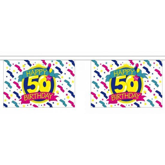Luxe vlaggenlijn 50e verjaardag 9 meter. Luxe vlaggenlijn van polyester met daaraan 30 vlaggetjes. Op de vlaggetjes staat de tekst Happy 50th Birthday in vrolijke kleuren.
