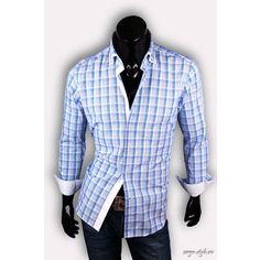 Рубашка Poggino приталенная цвет голубой в клетку