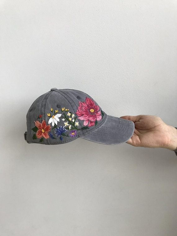 b0ff95f148f Custom Hand Stitched Hat   Hand Embroidered Hat   Flower Baseball Cap  Floral hat   Colorful hat   Bo